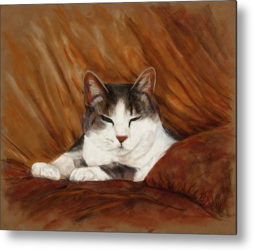 Cat Metal Print featuring the painting Cat Nap by Billie Colson