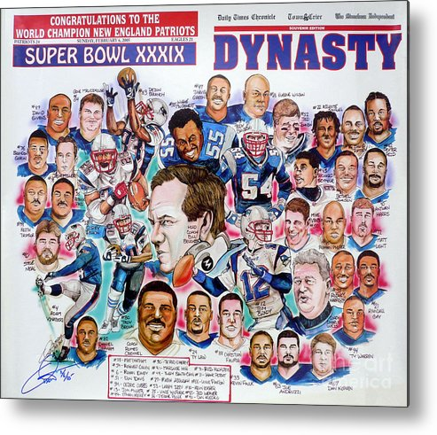 Nfl Metal Print featuring the drawing Championship Patriots Newspaper Poster by Dave Olsen