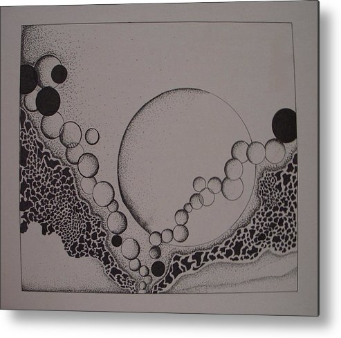 Abstract Metal Print featuring the drawing Circles by Moby Kane