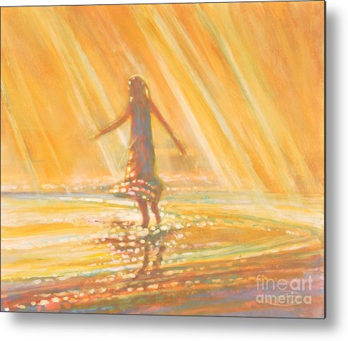Dancing Metal Print featuring the painting Dancing With Summer Rain Drops by Kip Decker