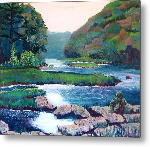 River Metal Print featuring the painting Dawn In West Virginia by Art Nomad Sandra Hansen