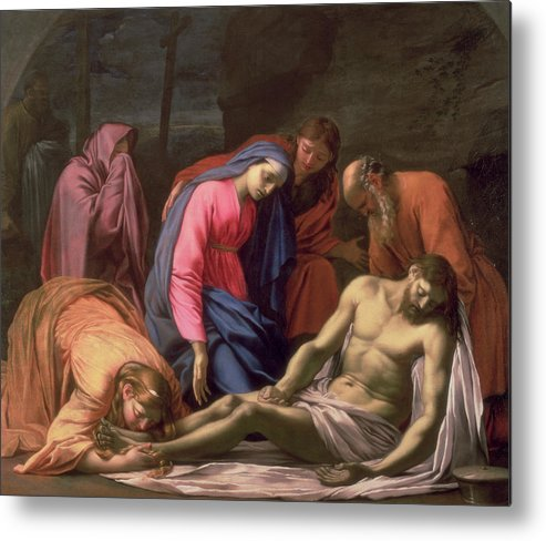 Deposition Metal Print featuring the painting Deposition by Eustache Le Sueur