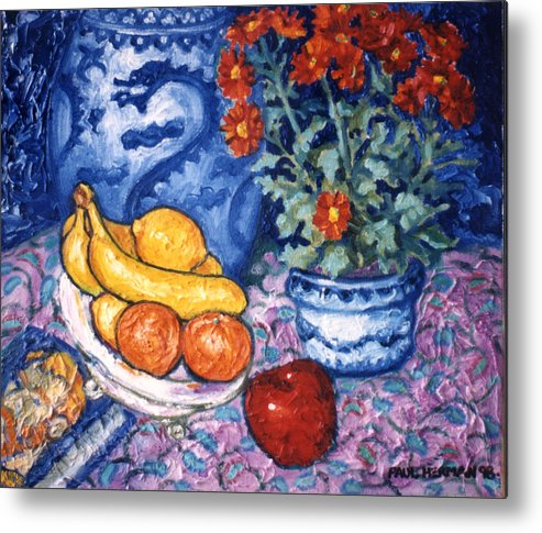 Still Life Metal Print featuring the painting Dragon Vase by Paul Herman