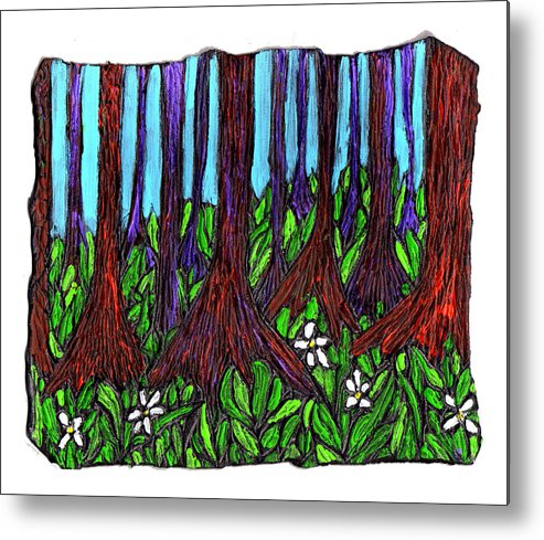 Trees Metal Print featuring the painting Edge Of The Swamp by Wayne Potrafka