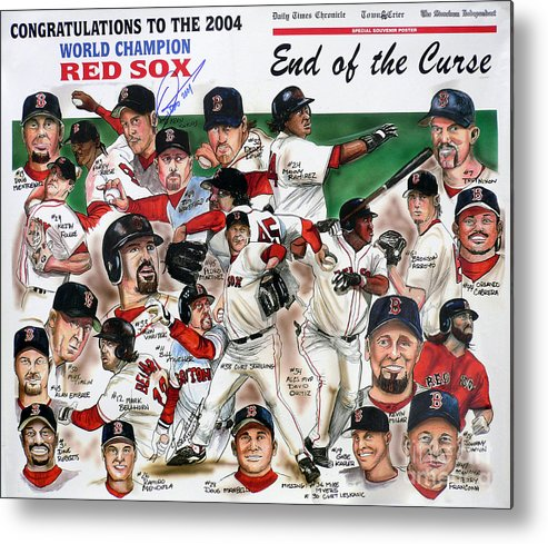 Mbl Metal Print featuring the painting End Of The Curse Red Sox Newspaper Poster by Dave Olsen