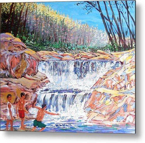 Boys Metal Print featuring the painting Enjoying Waterfall by Narayan Iyer