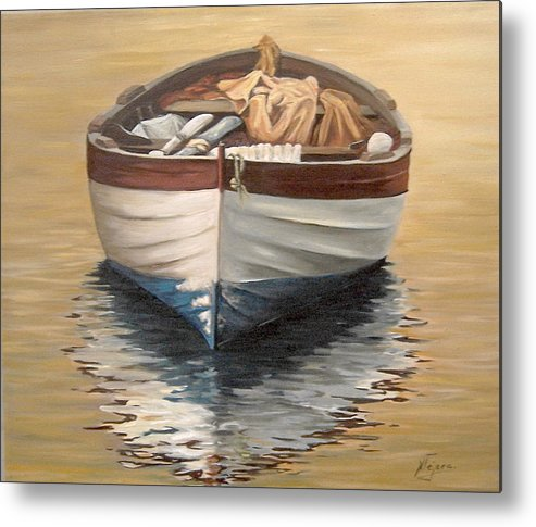 Boats Reflection Seascape Water Metal Print featuring the painting Evening Boat by Natalia Tejera