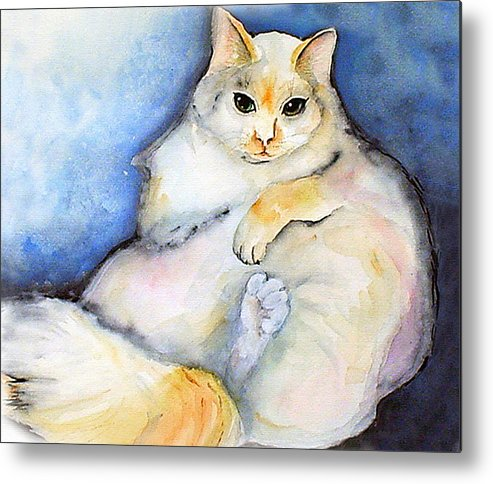 Feline Metal Print featuring the painting Fat Cat by Gina Hall