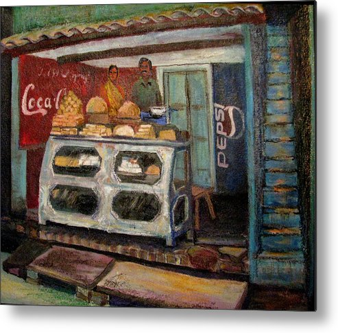 Gajak Metal Print featuring the painting Gajak Sweet Shop Orchha by Art Nomad Sandra Hansen