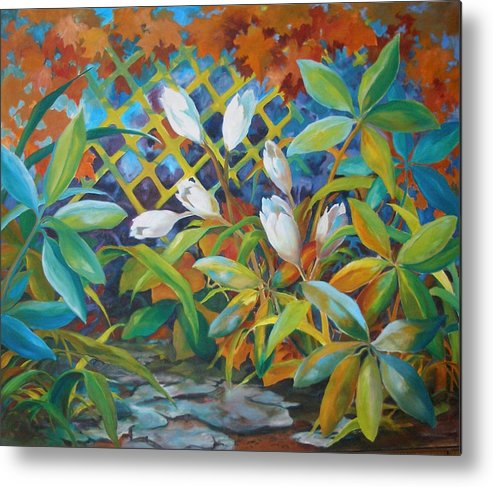 Oil Painting;flower Painting; Trellis;white Flowers; Leafy Plants; Warm Colors; Metal Print featuring the painting Garden Path by Lois Mountz