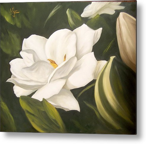 Gardenia Flower Metal Print featuring the painting Gardenia by Natalia Tejera