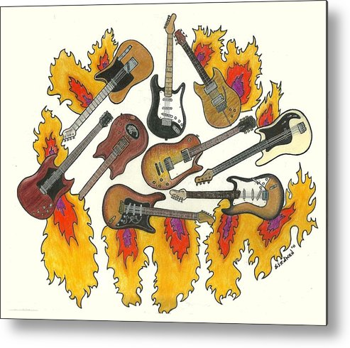 Guitars Metal Print featuring the drawing Greatest Guitars by Steve Weber