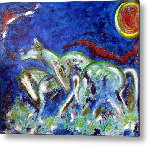 Horse Metal Print featuring the painting Green Horses by Narayanan Ramachandran