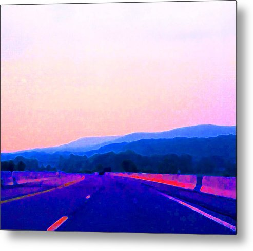 Landscape Metal Print featuring the photograph Highway In The Hills Sat Ae 2 by Lyle Crump