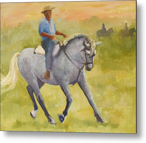 Horses Metal Print featuring the painting Horseman 3 by Podi Lawrence