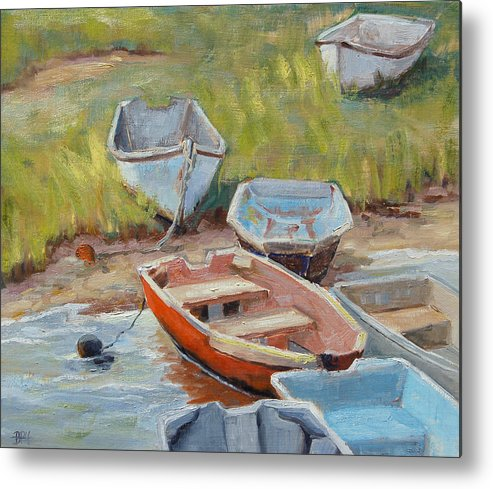 Cape Cod Metal Print featuring the painting Hot Dinghy by Barbara Hageman