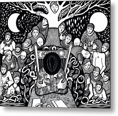 Drawing Metal Print featuring the drawing I Know Not What Nature Is I Sing It by Jose Alberto Gomes Pereira