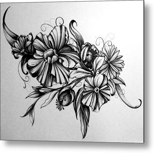 Floral Metal Print featuring the drawing I Never Promised You... by Mary Simms