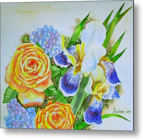 Roses Metal Print featuring the painting Irises And Rores. by Natalia Piacheva