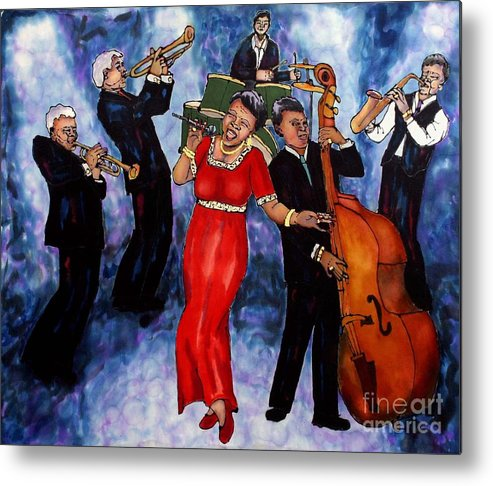 Jazz Metal Print featuring the painting Jazz Band by Linda Marcille