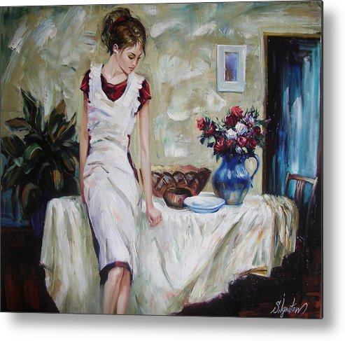 Figurative Metal Print featuring the painting Just The Next Day by Sergey Ignatenko