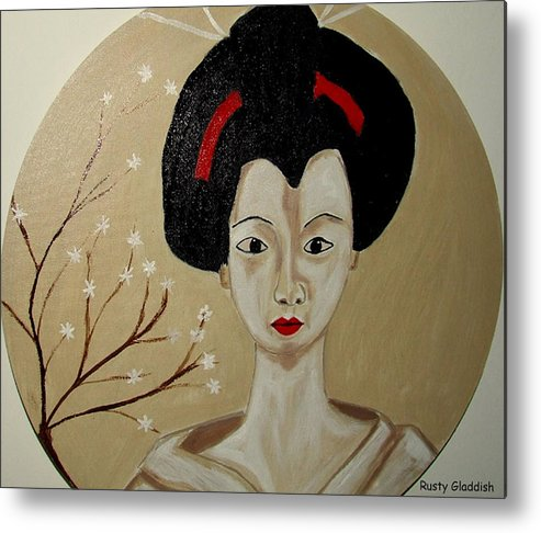 Japanese Metal Print featuring the painting Kabuki Girl by Rusty Gladdish