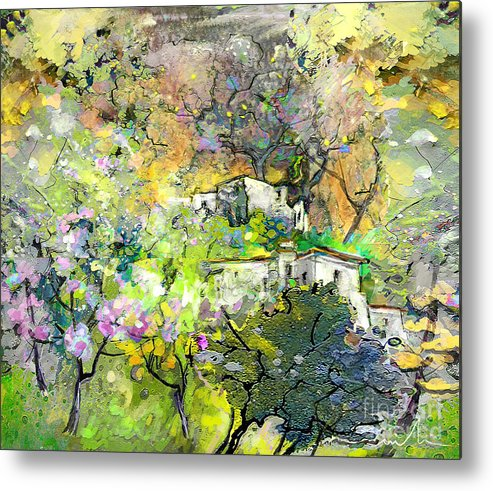 Landscape Painting Metal Print featuring the painting La Provence 07 by Miki De Goodaboom