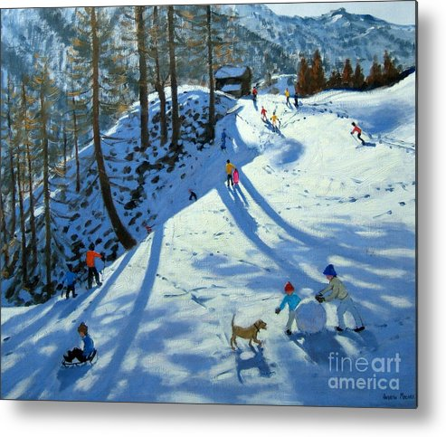 Sledge Metal Print featuring the painting Large Snowball Zermatt by Andrew Macara