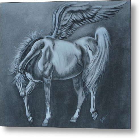 Horse Metal Print featuring the drawing Little Wing by Kylie Jo Greshik