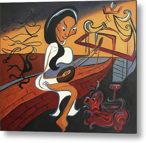 Vietnamese Metal Print featuring the painting Mandolin Lady by Suzanne Marie Leclair
