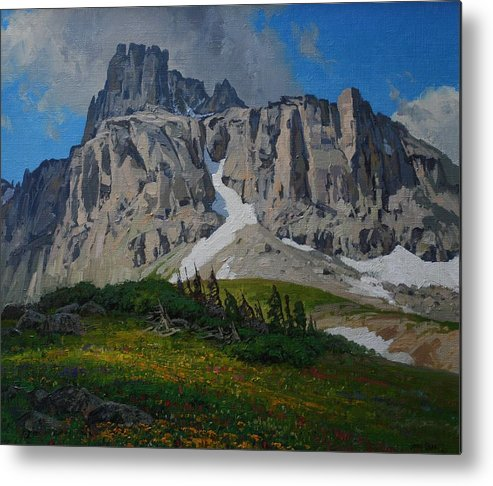 Landscape Metal Print featuring the painting Mendota Peak by Lanny Grant