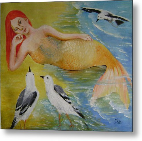 Fantasy Metal Print featuring the painting Mermaid And Seagulls by Lian Zhen