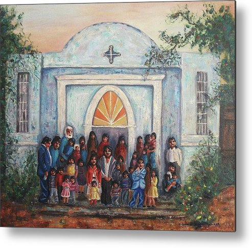 Mexico Metal Print featuring the painting Mexican Church by Suzanne Marie Leclair