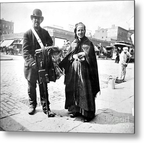 1897 Metal Print featuring the photograph Organ Grinder, 1897 by Granger