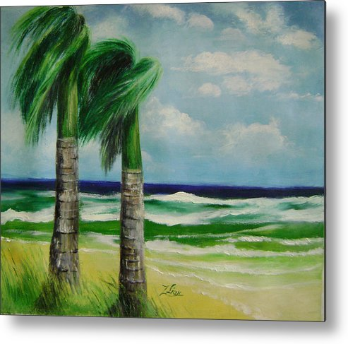 Seascape Metal Print featuring the painting Palm Trees In The Wind by Lian Zhen