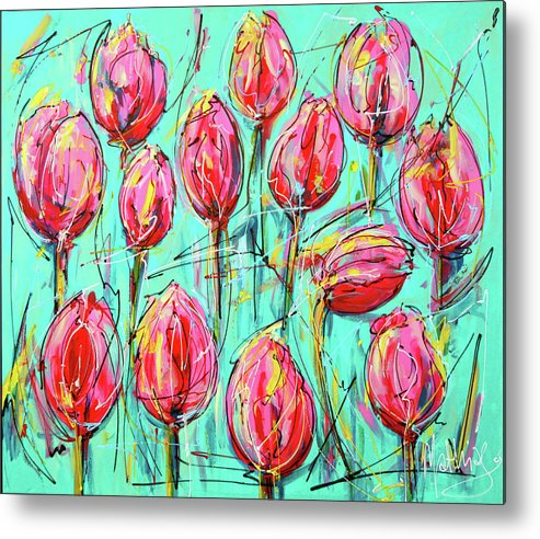 Pink Tulip. Turquoise Tulip Metal Print featuring the painting Pink Tulip, Turquoise by Mathias