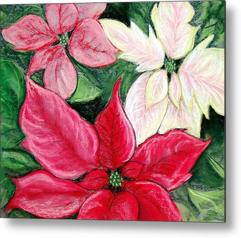Poinsettia Metal Print featuring the pastel Poinsettia Pastel by Nancy Mueller