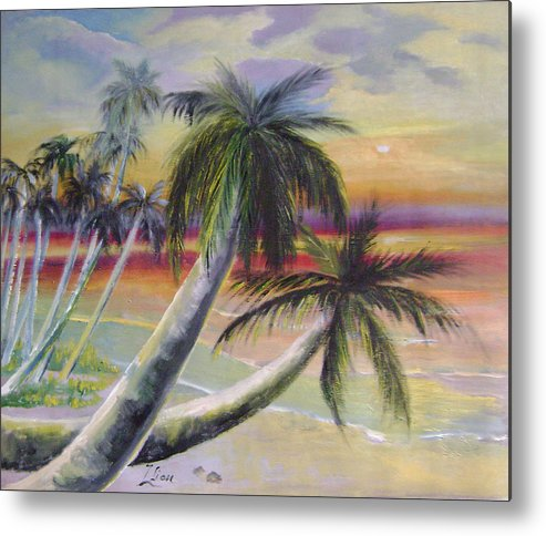 Seascape Metal Print featuring the painting Purple Evening by Lian Zhen