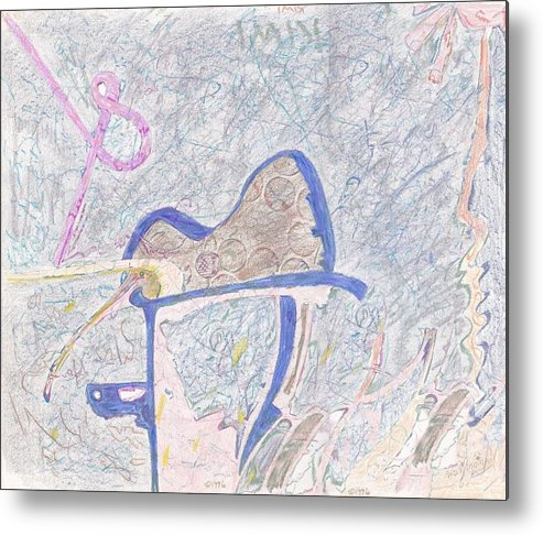 Abstract Metal Print featuring the drawing Rainy Day Kiwi Box by Wayne Monninger