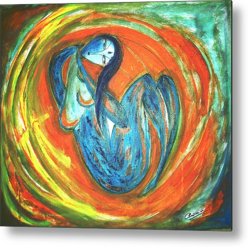 Woman Metal Print featuring the painting Reverie by Narayanan Ramachandran