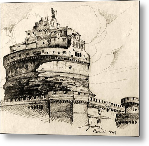 Ancient Metal Print featuring the drawing Saint Angel Castle by Odon Czintos