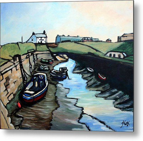 Seascape Metal Print featuring the painting Seaton Sluice Harbour by John Cox
