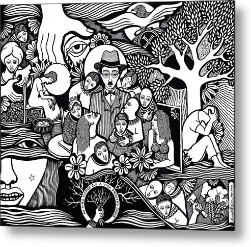 Drawing Metal Print featuring the drawing Sleep Not To Have Desire Nor Hope by Jose Alberto Gomes Pereira