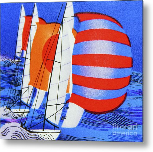 Postage Stamp. Great Britain. Queen Elizabeth Ii. 1975. Sailing. Racing Keel Yachts. 8p. Metal Print featuring the photograph Spinnakers. by Stan Pritchard