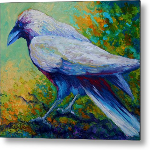 Crows Metal Print featuring the painting Spirit Raven by Marion Rose