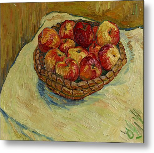 Still Life Metal Print featuring the painting Still Life With Moravian Apples by Vitali Komarov