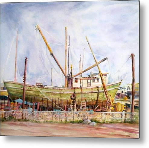 Boat Metal Print featuring the painting Sun Dancer In Dry Dock Mexico by Wendy Hill