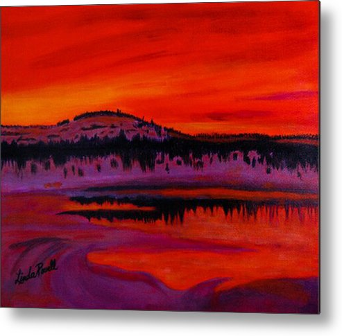 24 Inch Abstract Acrylic Landscape Red Purple Black Yellow Mountains Trees Lake Reflections Metal Print featuring the painting Sunset by Linda Powell