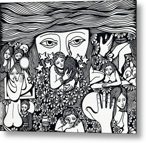 Drawing Metal Print featuring the drawing Surround Yoursel With Roses Love Drink And Be Silent The More Is Nothing by Jose Alberto Gomes Pereira