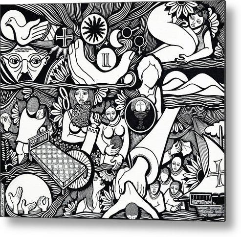 Drawing Metal Print featuring the drawing Symbols I Am Sick Of Symbols by Jose Alberto Gomes Pereira
